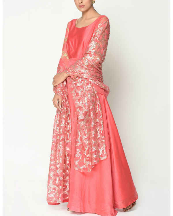 Peach sequinced tunic with dupatta 1
