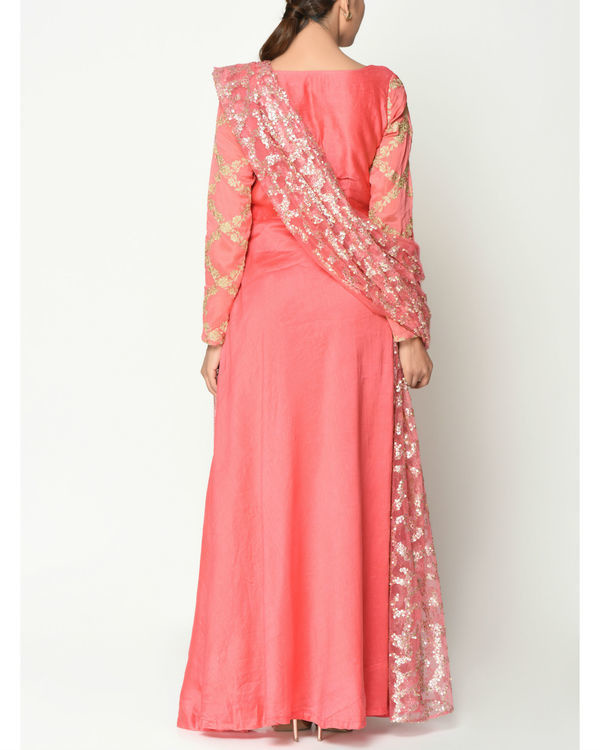 Peach sequinced tunic with dupatta 2