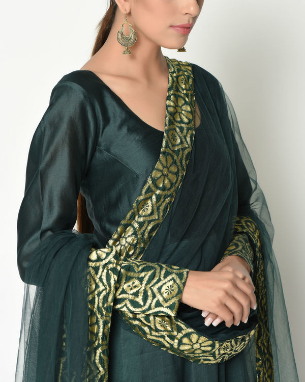 Cocktail green tunic with dupatta 1