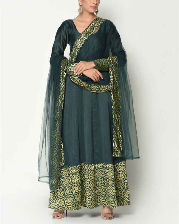 Cocktail green tunic with dupatta 2