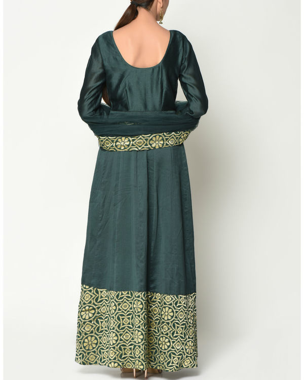Cocktail green tunic with dupatta 3
