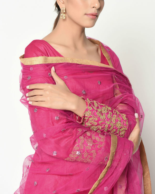 Pink zari cuff tunic with dupatta 1