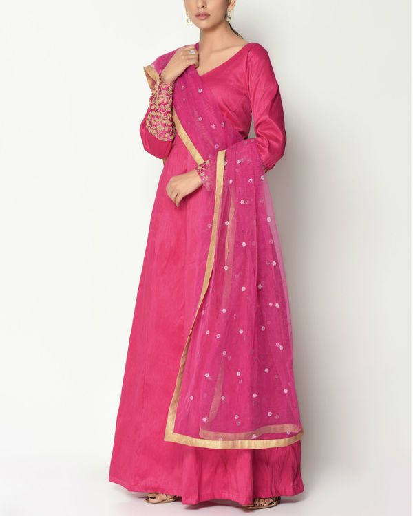 Pink zari cuff tunic with dupatta 2