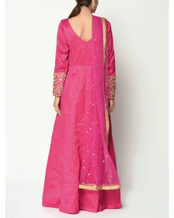 Pink zari cuff tunic with dupatta 3
