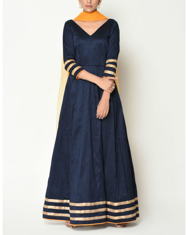 Blue striped border tunic with dupatta 1