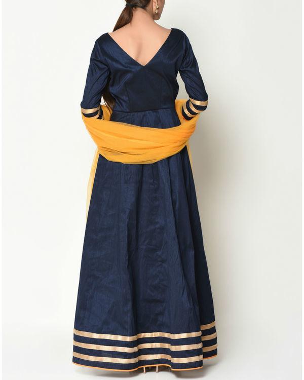 Blue striped border tunic with dupatta 3