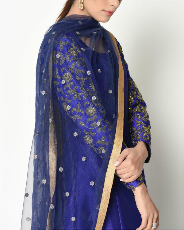Royal blue zari sleeves tunic with dupatta 1