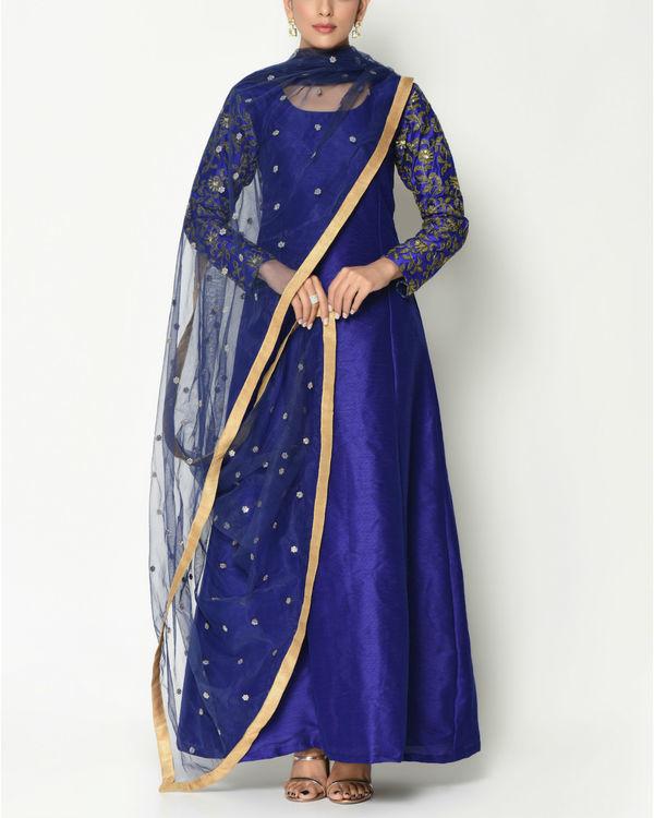 Royal blue zari sleeves tunic with dupatta 2