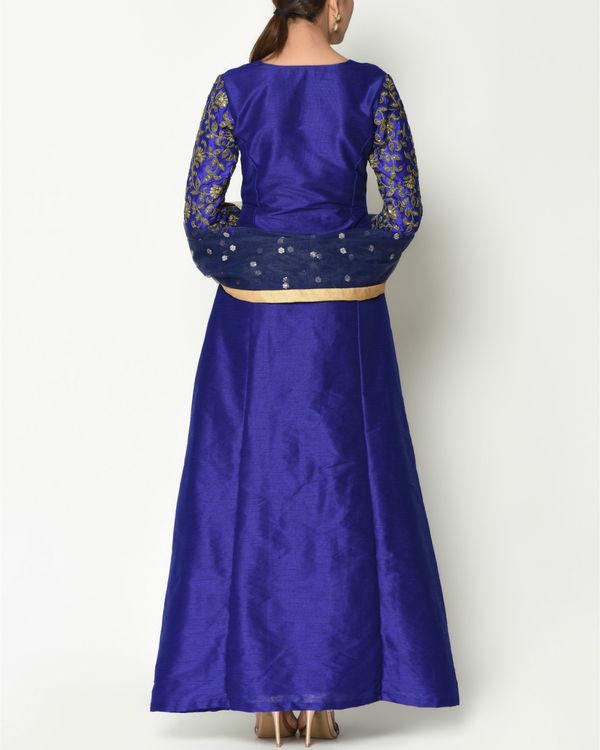 Royal blue zari sleeves tunic with dupatta 3