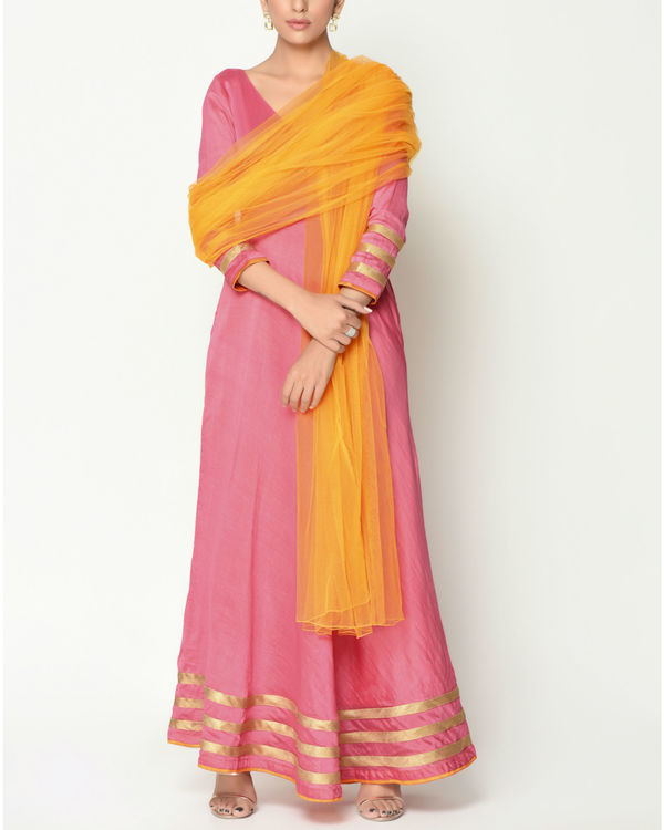 Peach striped border tunic with dupatta 1