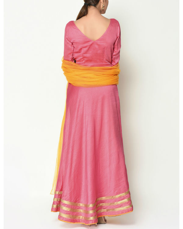 Peach striped border tunic with dupatta 2