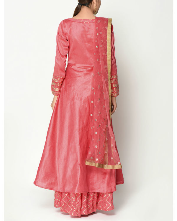 Peach layered tunic with dupatta 1
