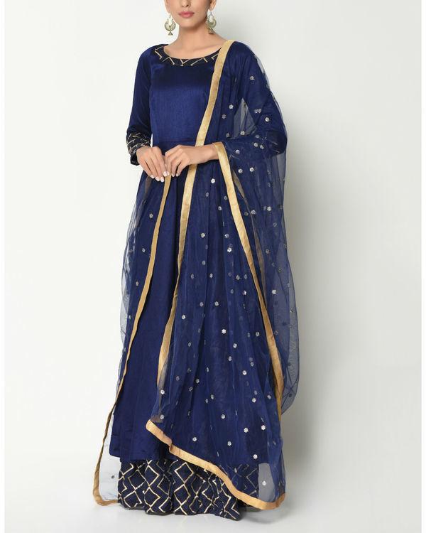 Blue layered tunic with dupatta 2