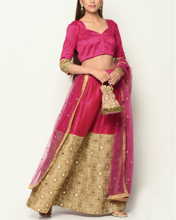 Pink and gold zari lehenga 1