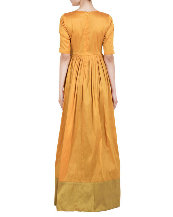 Mustard and green straight dress 2