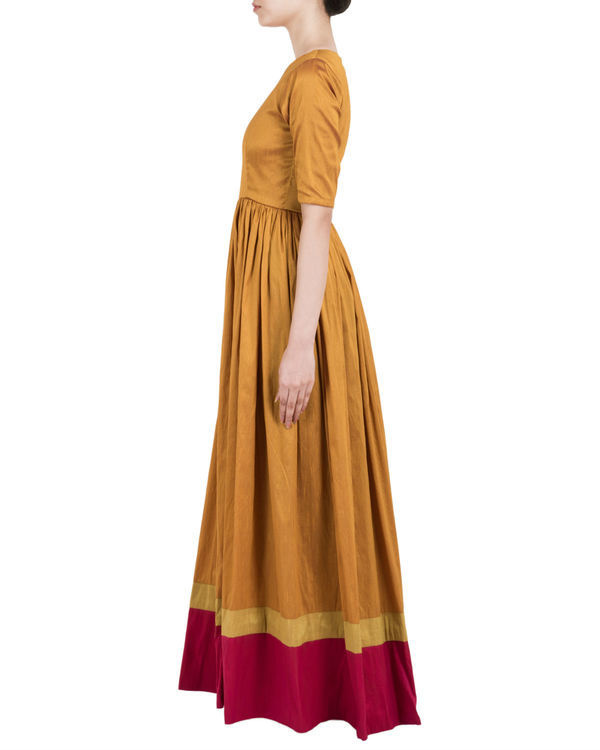 Gold brown and red double border  dress 1