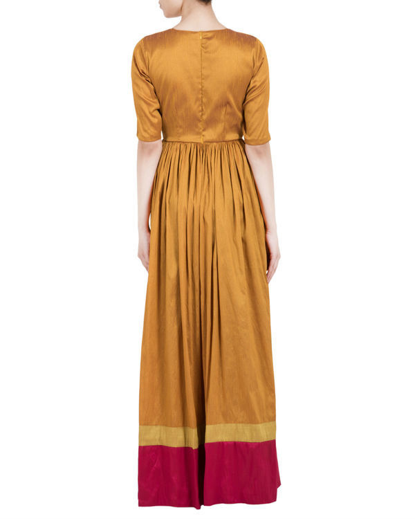 Gold brown and red double border  dress 2