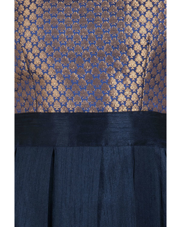 Navy brocade pleated dress 1
