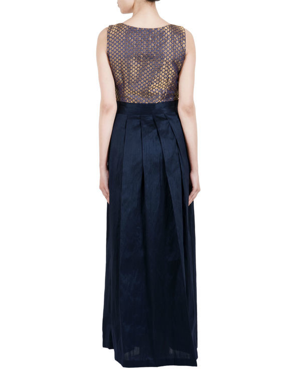 Navy brocade pleated dress 2