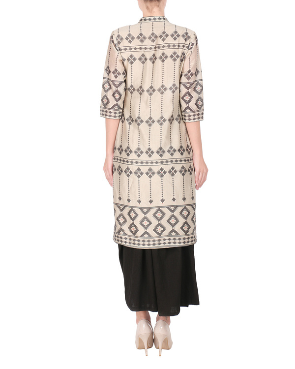 Beige chanderi long kurta with palazzo 2