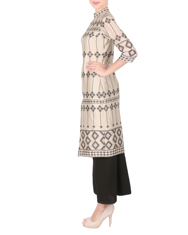 Beige chanderi long kurta with palazzo 3