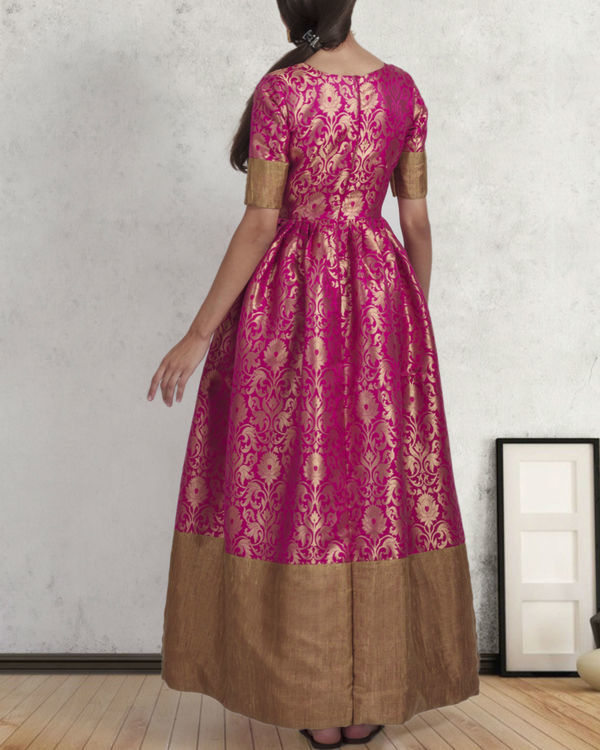 Pink and gold brocade gown 2
