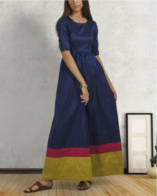 Navy blue double border dress 1