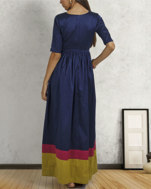 Navy blue double border dress 2