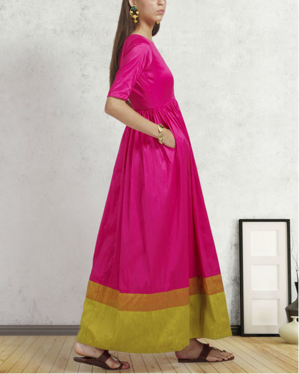 Bright pink double border dress 1