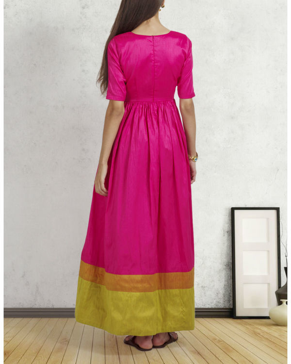 Bright pink double border dress 2