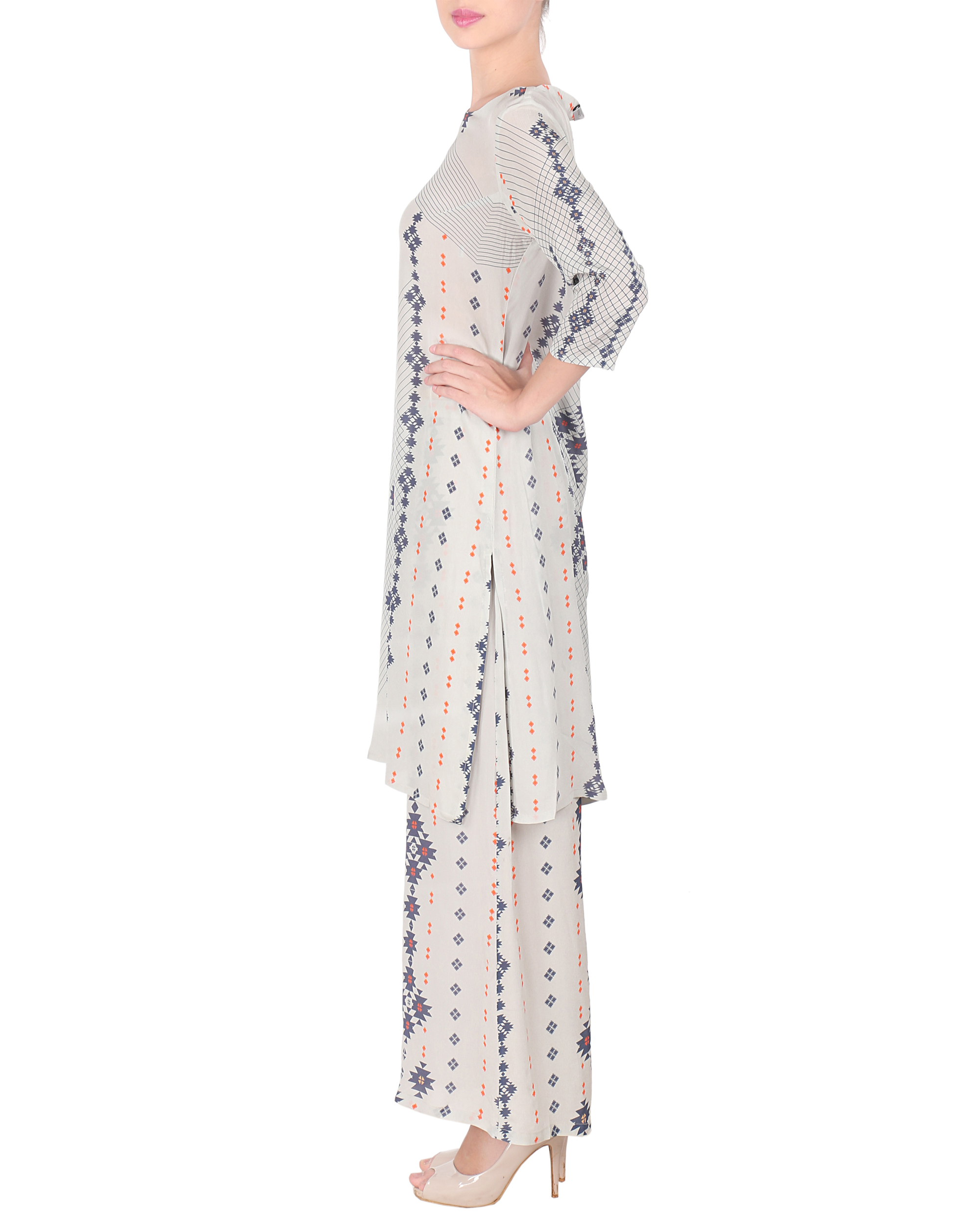 Ihram Kids For Sale Dubai: Long Kurta With Palazzo Pants By Sougat Paul