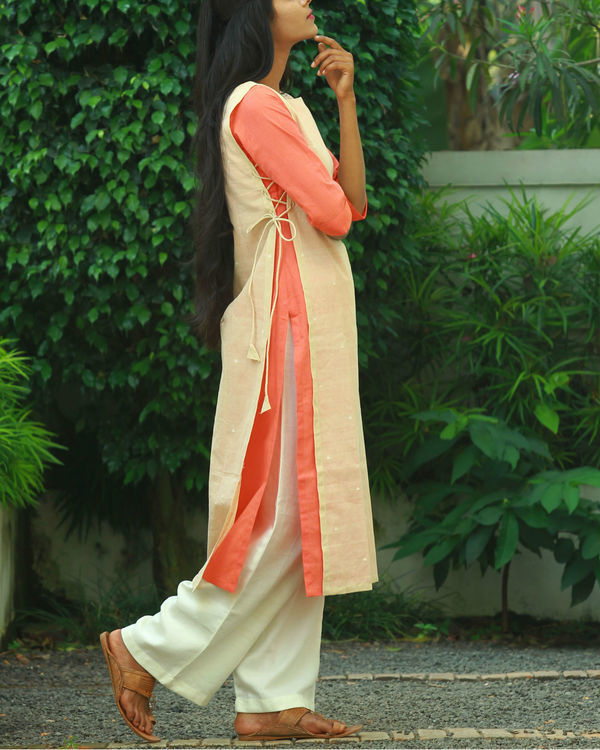 Beige double layered knotted kurta 1