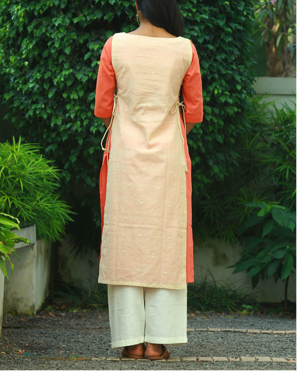 Beige double layered knotted kurta 2