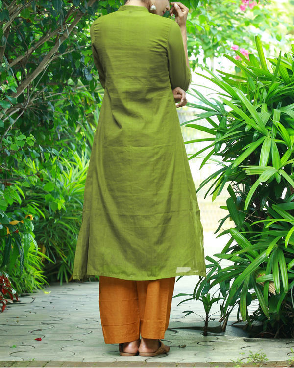 Olive kurta with camisole 3