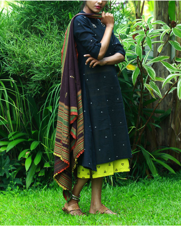 Black kurta with lemon camisole 1