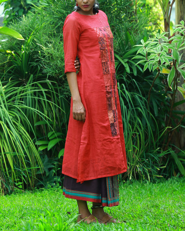 Coral kurta with camisole 2