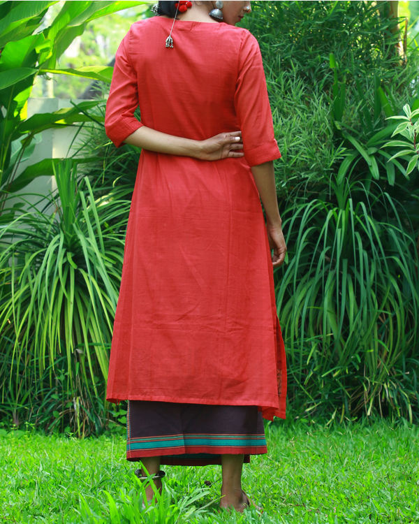 Coral kurta with camisole 3
