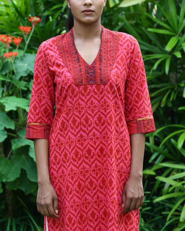 Coral cotton kurta 1
