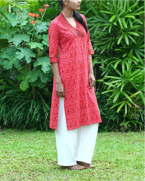 Coral cotton kurta 3