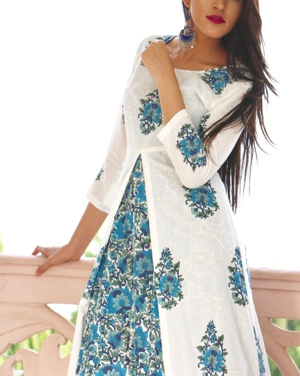Blue maxi with white block printed tunic 1