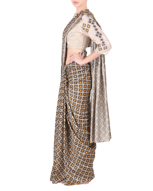 Chanderi saree with stitched blouse 2