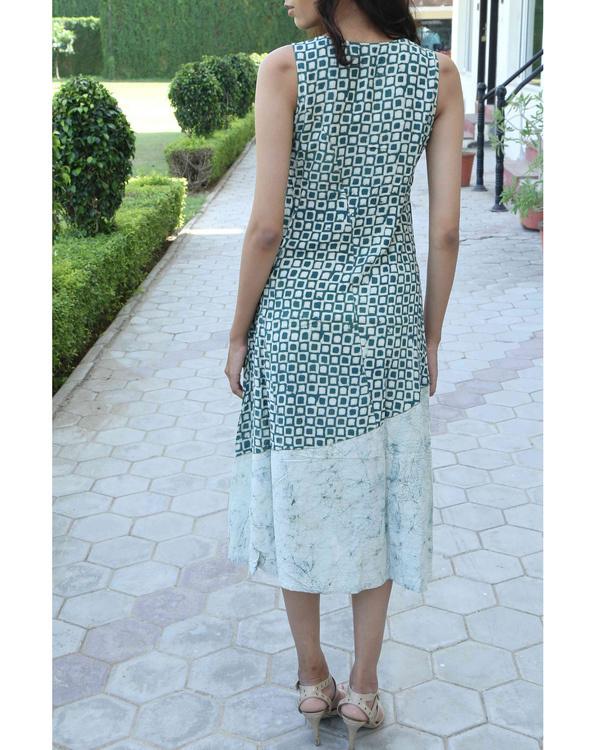 Green block printed summer dress 1