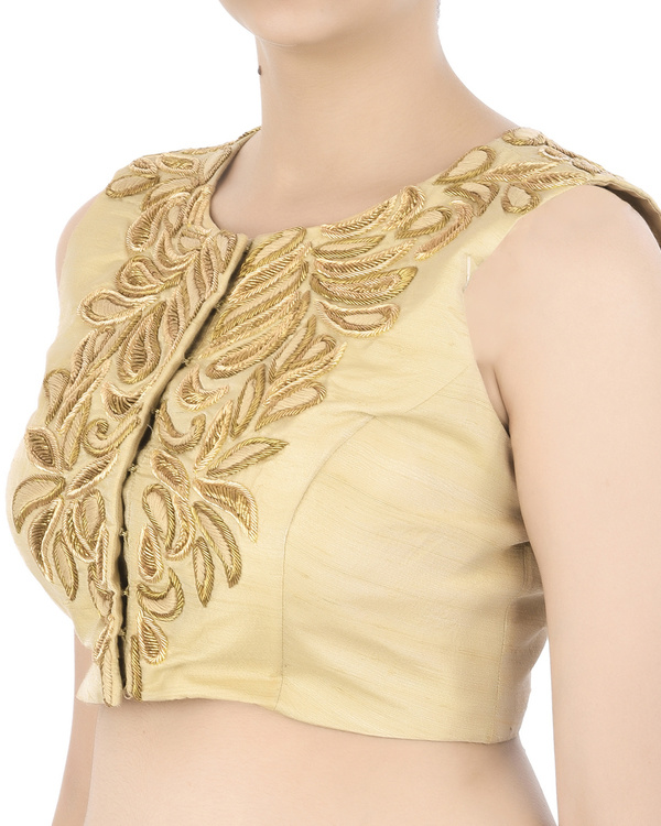 Golden zardozi embroidered blouse 1