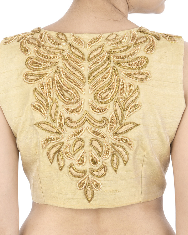 Golden zardozi embroidered blouse 2