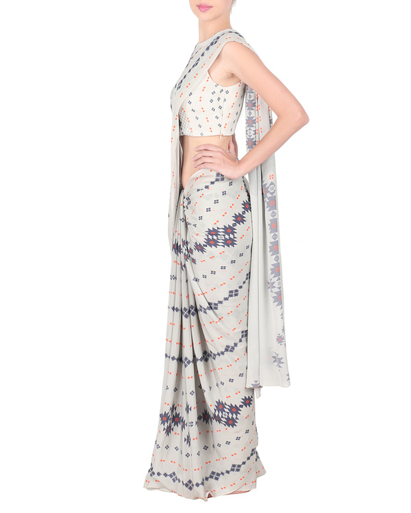 Grey crepe saree with stitched blouse 2