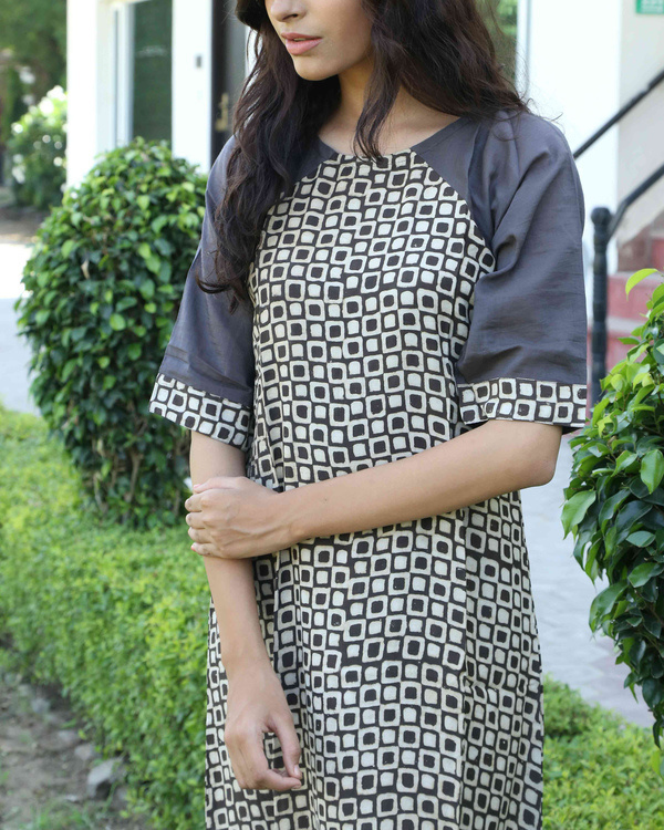 Deep grey blockprinted tunic 1