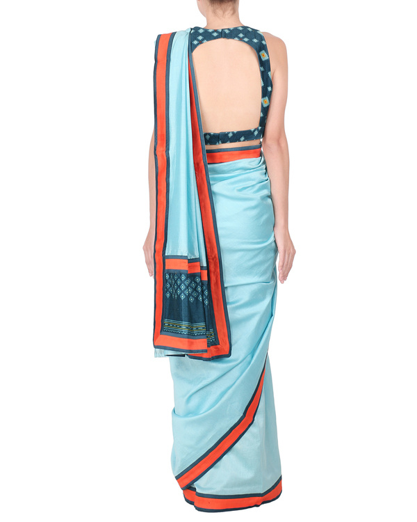 Ice blue chanderi saree with stitched blouse 1