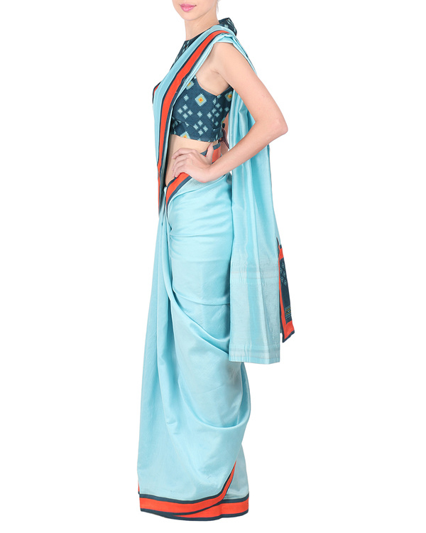 Ice blue chanderi saree with stitched blouse 2