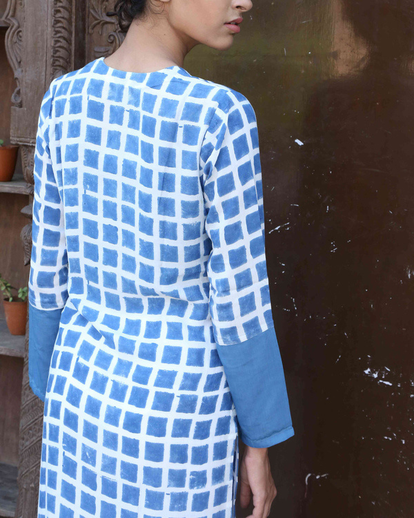 Blue chequered kurta 1