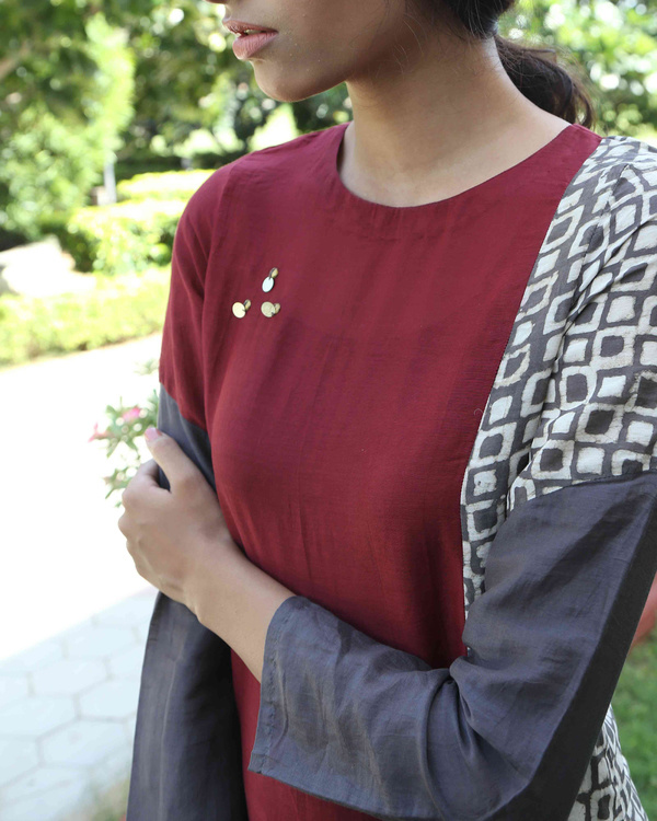 Maroon patchwork tunic 2